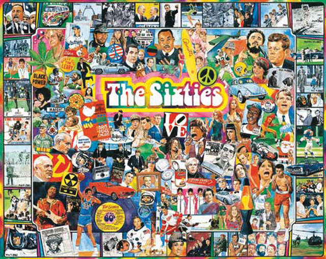 """Jigsaw Puzzle Ultimate Trivia 1000 Pieces 24""""X30""""-The Sixties by White Mountain Puzzles"""