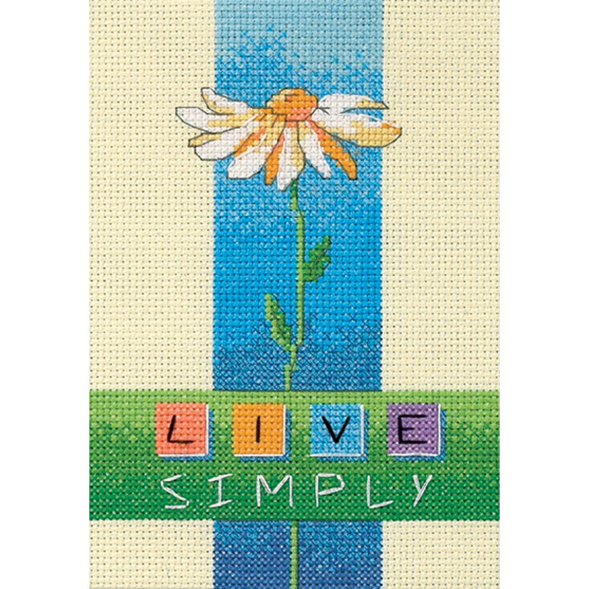 """Dimensions """"Live Simply"""" Mini Counted Cross Stitch Kit, 5"""" x 7"""""""