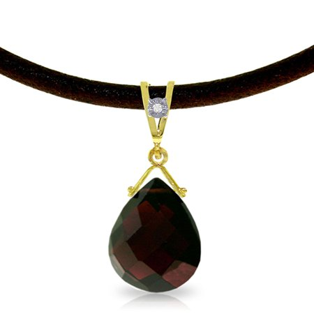 ALARRI 6.51 Carat 14K Solid Gold Attraction Garnet Diamond Necklace with 20 Inch Chain Length.