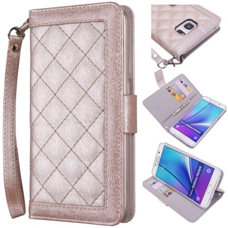 Samsung Galaxy Note 5 Wallet Wristlet Case  True Color  Slim   Stylish Magnetic Folio Quilted Wristlet Cover Purse Clutch With Removable Wrist Strap   Media Stand   Gold