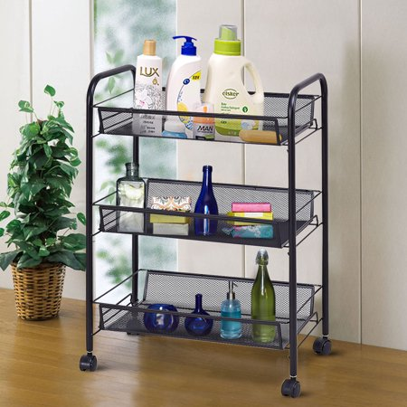 Costway 3 Tier Storage Rack Trolley Cart Home Kitchen Organizer Utility Baskets Black
