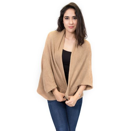 Elegant Poncho Capes Shawl Cardigans Sweater Jacket Coat by Zodaca  - Tan