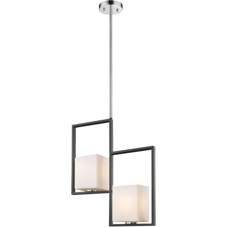 - Pendants 2 Light Fixture With Black and Chrome Finish Steel Material E26 20