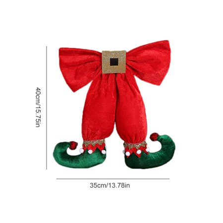 Voomwa European and American Style Cute Elf Foot Shape Bowknot Christmas Decoration Pendant Hotel Christmas Tree Decorations](Elf Door Decoration)