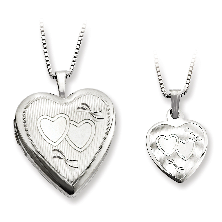 Roy Rose Jewelry Sterling Silver Polished Textured Heart Locket Mom Daughter Pendant Set