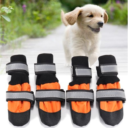 4Pcs Pet Dog Rain Snow Boots Warm Shoes Anti-slip Footwear Waterproof Socks