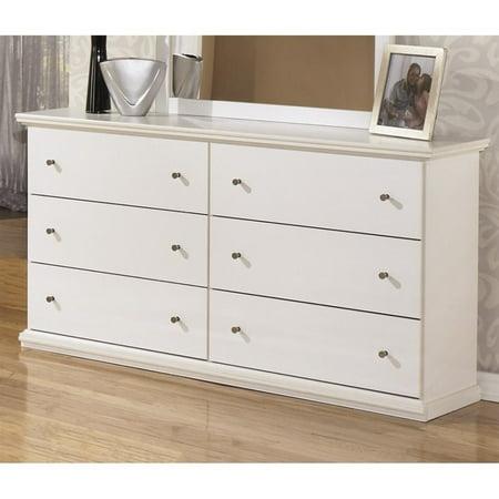 ashley bostwick shoals 6 drawer wood double dresser in white. Black Bedroom Furniture Sets. Home Design Ideas