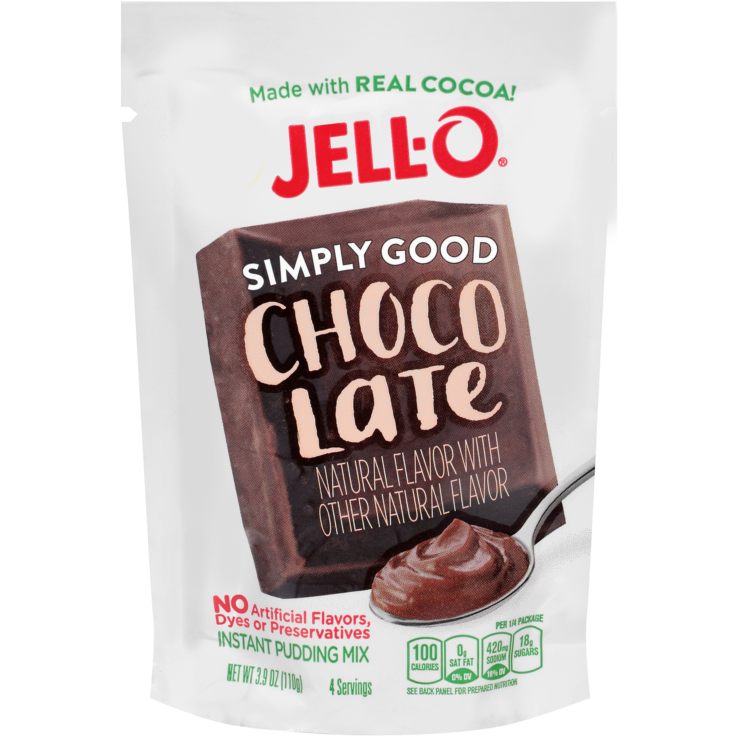 Jell-O Simply Good Chocolate Instant Pudding Mix 3.9 oz. Pouch