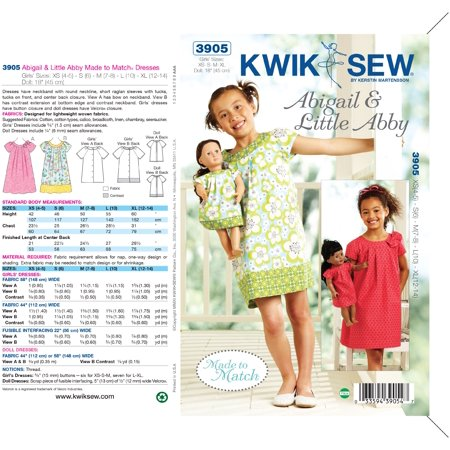 Kwik Sew Pattern Abigail And Little Abby Made To Match Dresses Xs4