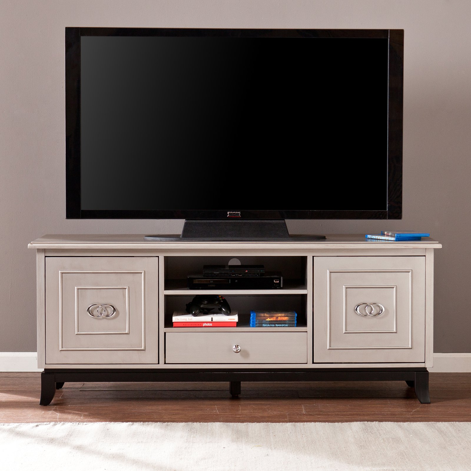 Southern Enterprises Wildon 60 in. TV   Media Stand Antique Gray by Southern Enterprises Inc
