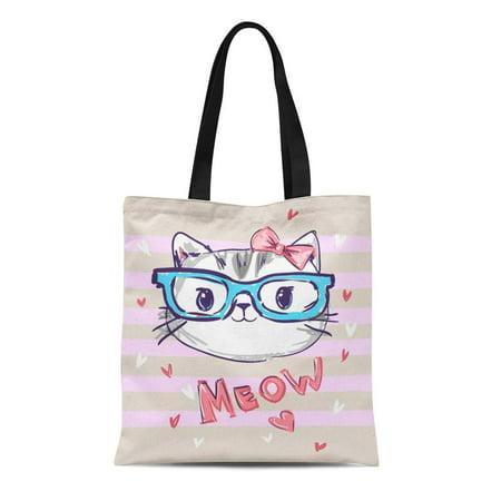 LADDKE Canvas Bag Resuable Tote Grocery Shopping Bags Kitten Cute Cat Sketch Children Girl Glasses Little Tote (Little Kids Glasses)