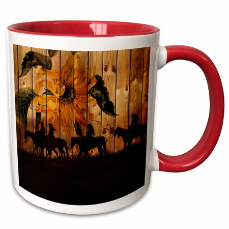 Cowgirl Silhouettes (3dRose Western cowgirl silhouettes against barn wood with a vintage sunflower and meadow. - Two Tone Red Mug,)