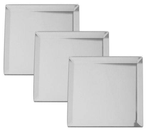 Premium Square Mirrors Beveled 4 Inch Pack of 3 by