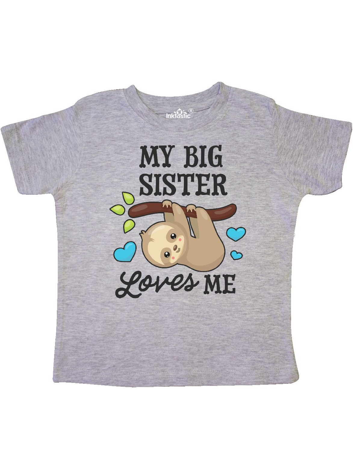inktastic Candy Cane Sloth Little Sis Toddler T-Shirt