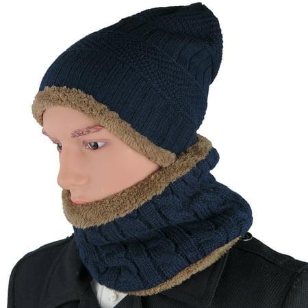 DEBRA WEITZNER - Debra Weitzner Mens Slouchy beanie knit winter hat neck  warmer scarf set Navy - Walmart.com 3b1c79b8b164