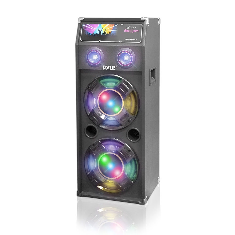 Pyle PSUFM1040P - 1000 Watts Disco Jam Passive Dual 10'' DJ Speaker System with Flashing DJ Lights (For Use With Model PSUFM1045A)