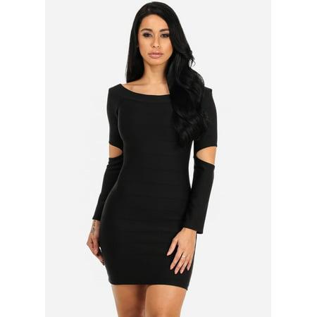 Black Bodycon Off Shoulder Long Sleeve Mini Dress Walmart