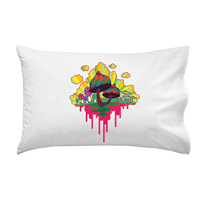 """Drippy Mushrooms"" Funny Hippy Shroom Dripping Design Artwork - Pillow Case Single Pillowcase"