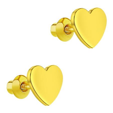 18k Gold Plated Plain Heart Back Safety Earrings Baby