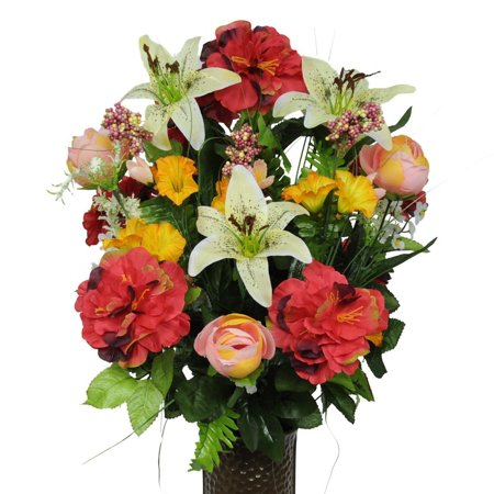 Pink Red And Yellow Silk Flower Bouquet With Stay In The Vase