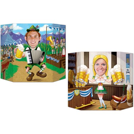 Oktoberfest Photo Prop (1 side male; other side female) Party Accessory (1 count) (1/Pkg), This item is a great value! By Beistle