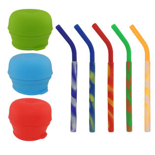 3-Pack Universal Silicone Sippy Cup Fat Straw Lids Mason Jar Kids Drink Tumbler Lid by Looking 4 The Deals LLC