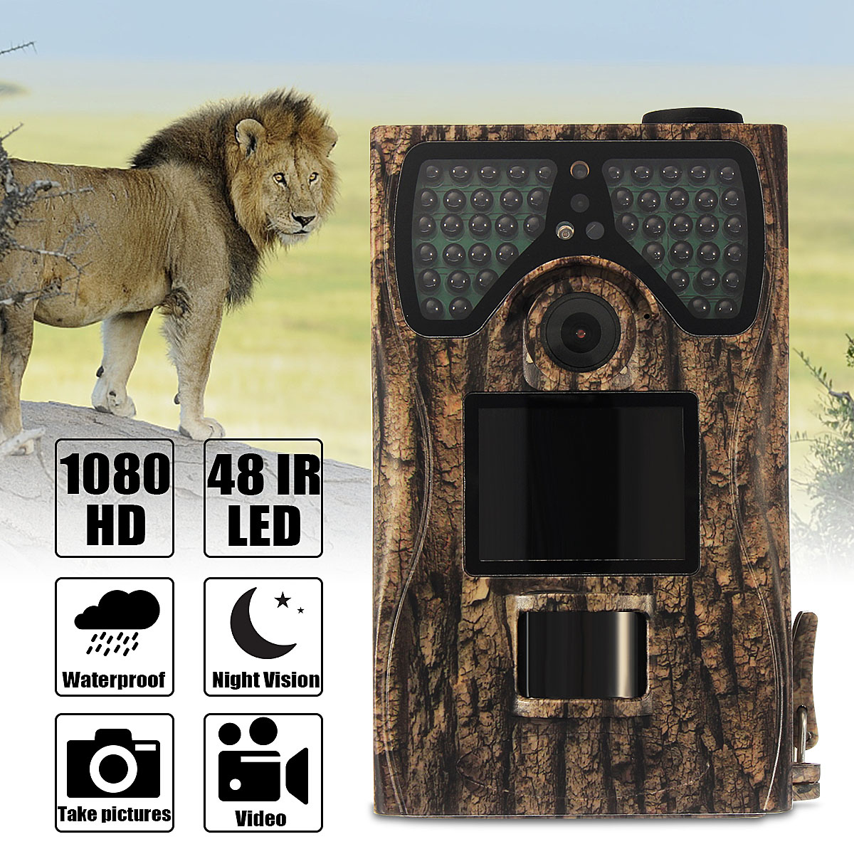12MP Hunting Trail Camera PIR IR Motion Activated Security Wildlife Animal Cam