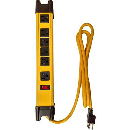 Premium Heavy Duty Industrial Metal Housing Power Strip Surge Protector Multi Plug Adapter 6 Foot Cord Metal Surge Strip