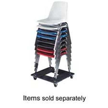 Safco Products Company SAF4188 Stacking Chair Cart- w- 3in. Casters- Holds 15- 23in.x23in.x4-.50in.- BK ()