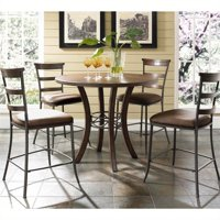 Cameron 5-Piece Counter Height Round Wood Dining Set with Ladder Back Stool