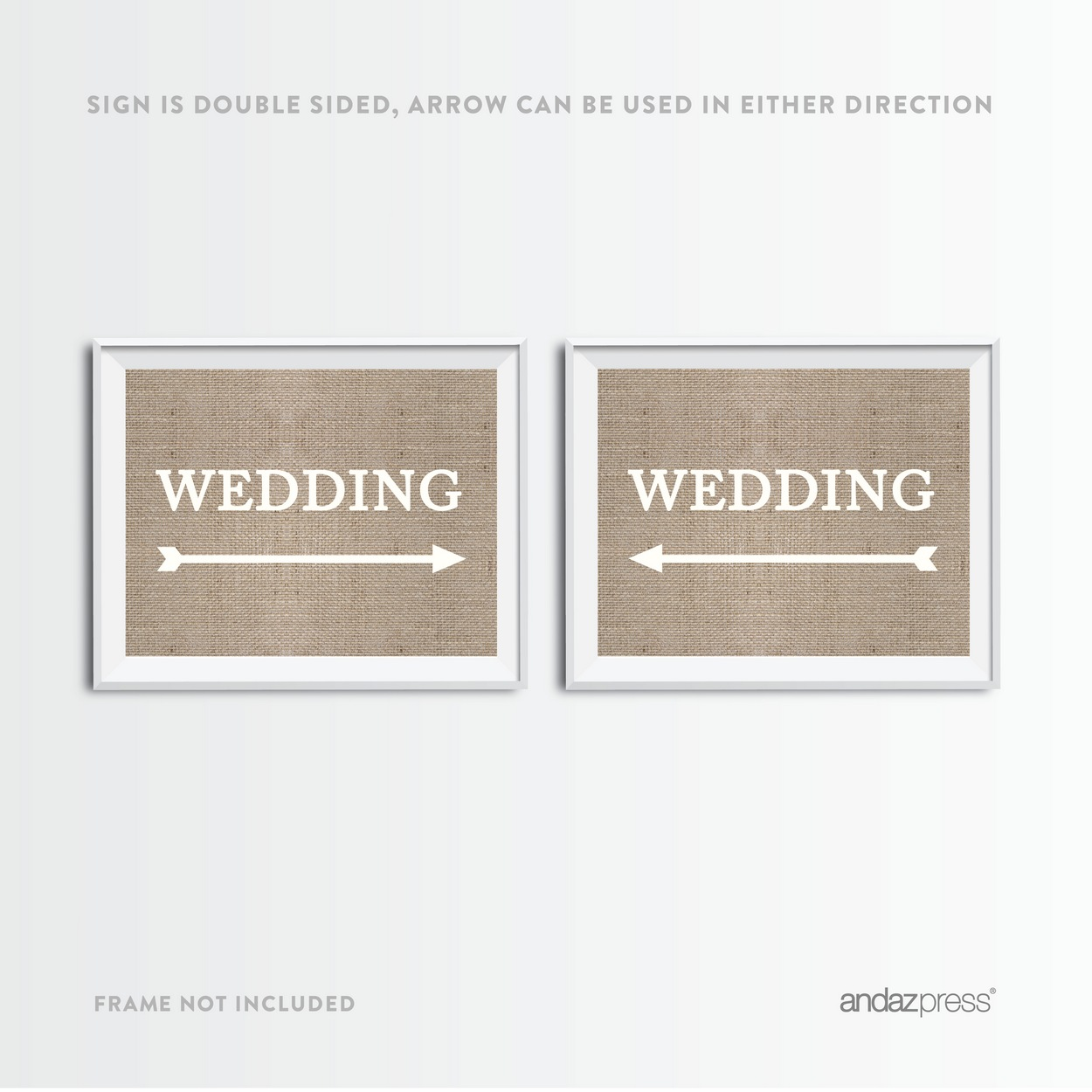 Wedding Burlap Wedding Party Directional Signs, Double-Sided Big Arrow