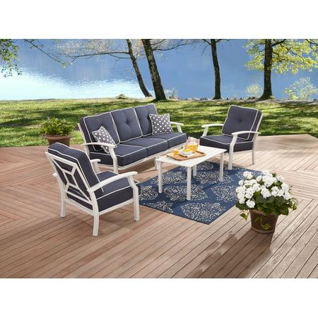 Better Homes & Garden Carter Hills Outdoor Conversation Set, Seats 5 with White (Garden Treasures Sandyfield 5 Piece Conversation Set)