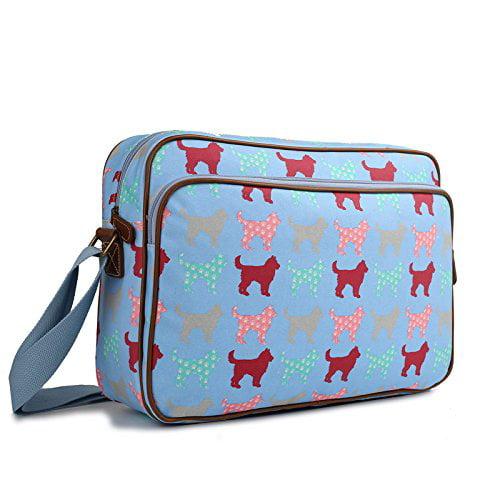 Miss Lulu Matte Finish Oilcloth Satchel Messenger Bag (Dog Blue)