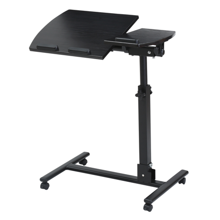 LANGRIA Laptop Rolling Cart Table Height Adjustable Mobile Laptop Stand Desk,Extra-large Tilting Wooden Rolling Laptop Desk
