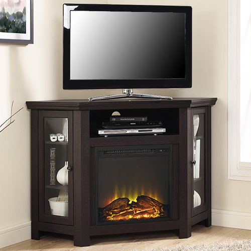 Union Rustic Rena Corner 48 Tv Stand With Fireplace Walmart Com