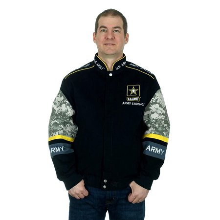 Army Logo Jacket (JH Design Mens Jacket an Officially Licensed US Army Logo Embroidered)