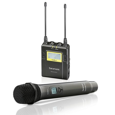 (Saramonic UWMIC9 UHF Wireless Handheld Microphone System with Handheld Mic with Transmitter, Receiver Unit with Camera Mount & XLR/3.5mm Outputs)