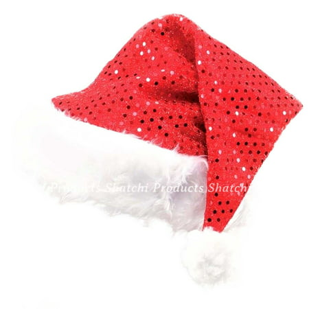 Deluxe Santa Father Christmas Hat with Sequin Fancy Dress Costume Party Dress Up - Fancy Christmas Hats