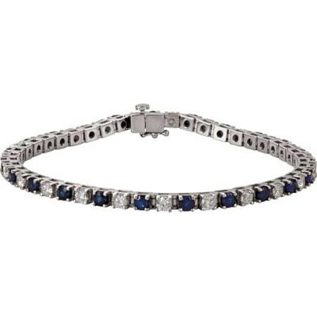 14kt White Blue Sapphire & 2 3/8 CTW Diamond Bracelet 62074 / 14Kt White / Blue Sapphire And 2 3/8 Ctw Diamond Bracelet
