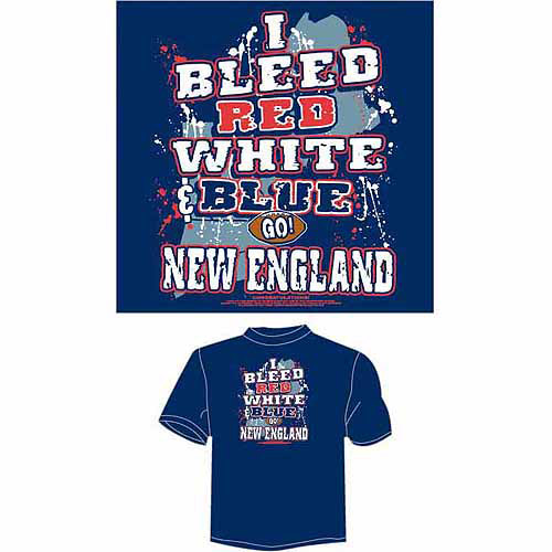 "New England Football ""I Bleed Red, White and Blue"" T-Shirt, Blue"