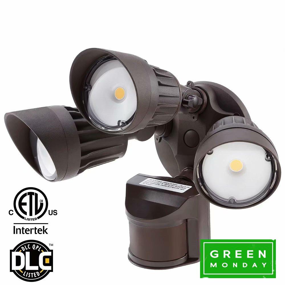 LEONLITE 3-Head LED Security Light, 30W Outdoor Motion Light for Green Monday, 5000K Daylight, Bronze