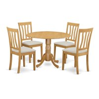 East West Furniture DLAN5-OAK-C Dublin Dining Room Table & 4 Chairs, Oak