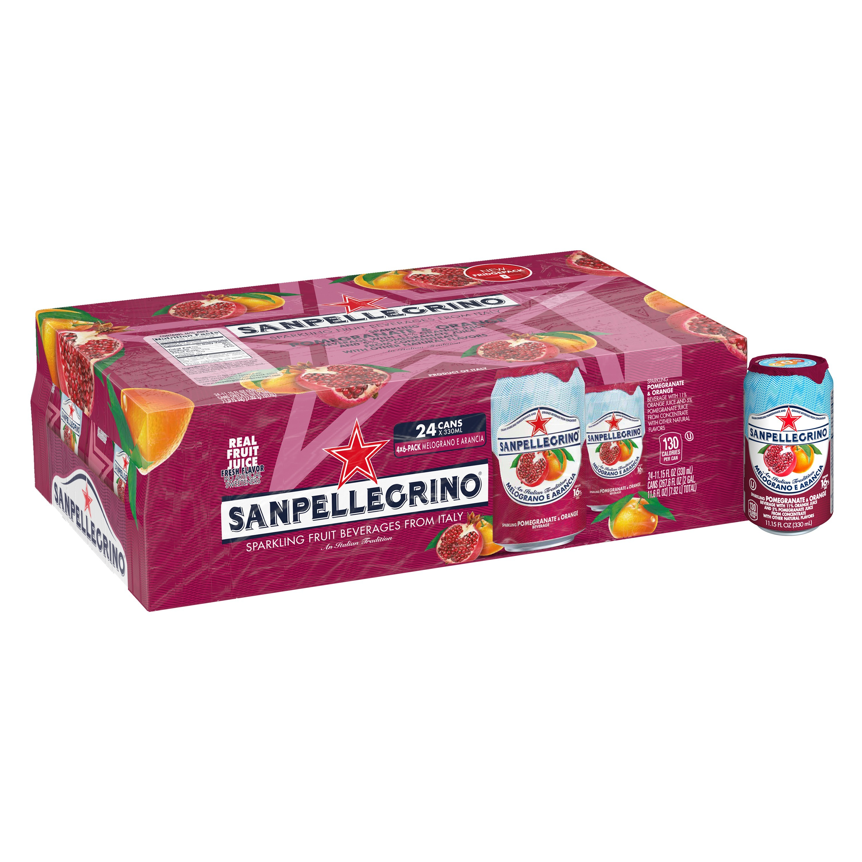 SANPELLEGRINO Sparkling Fruit Beverages, Melograno e Arancia/Pomegranate & Orange 11.15-ounce cans (Total of 24)