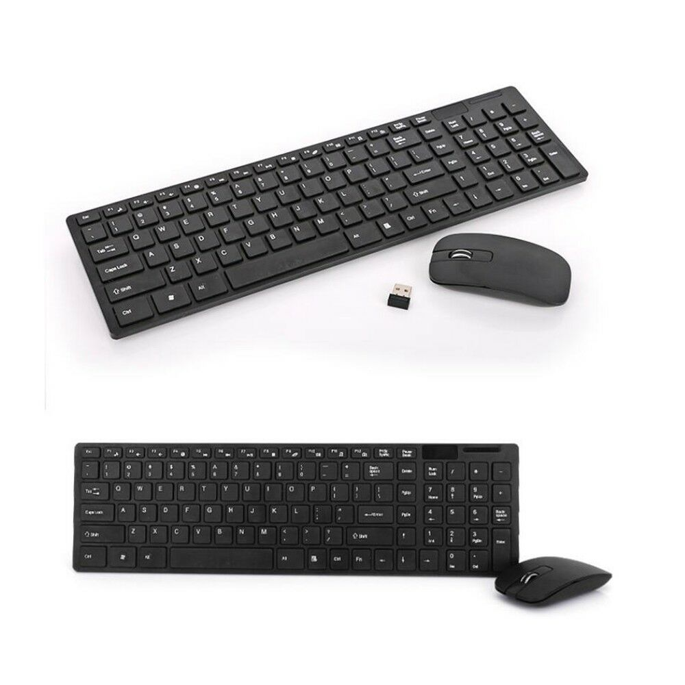 Black Wireless Mini Ultra Slim Keyboard and Mouse For Easy Smart TV Contol for Sony KDL-60R510A Smart TV