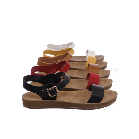 Marmie12 by Bamboo, Rubber Open Toe Ankle Strap Sandal - Women Comfort Soft Flexible Flats