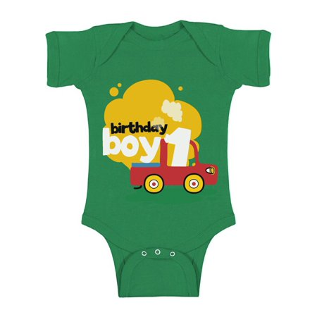 Awkward Styles Birthday Boy Baby Bodysuit Short Sleeve Toy Truck Gifts for 1 Year Old Baby Boy 1st Birthday Party One Piece Top Truck Themed Birthday Party for Baby Boy First Birthday Party Outfit