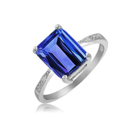 4.00 CTTW Genuine Tanzanite Emerald Cut Ring