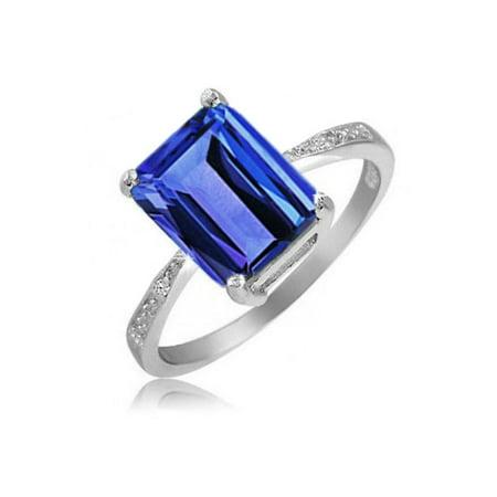 Sunshine Ring Tanzanite Ring (4.00 CTTW Genuine Tanzanite Emerald Cut Ring)