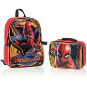 """Spiderman Backpack with Detachable Lunch Box 2 Piece Set for kids - 16"""""""
