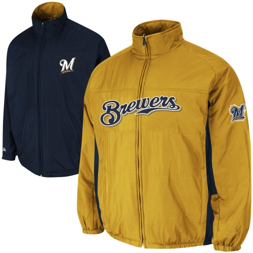Milwaukee Brewers Majestic Triple Climate 3-In-1 On-Field Jacket - Navy
